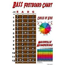 Triple G Posters 4 String Bass Instructional Poster With Nashville Numbering System