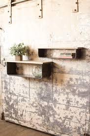 of  wood and metal wall shelves