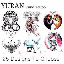 черная хна олень рисунок 25 узор татуировки наклейки орел элк тигр временные