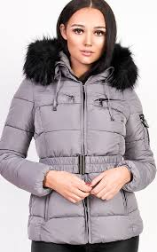 hadid padded faux fur hooded jacket