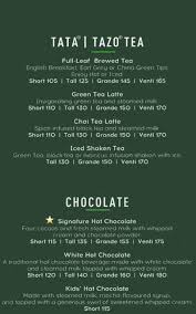 starbucks hot coffee menu. Exellent Hot Menu Of The Starbucks Coffee And Hot