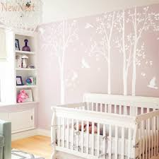 five huge white tree wall decal vinyl stickers birds decals baby nursery bedroom wall on tree wall art for baby nursery with five huge white tree wall decal vinyl stickers birds decals baby