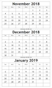 printable 6 month calendar 2019 download november december 2018 january 2019 printable template 3