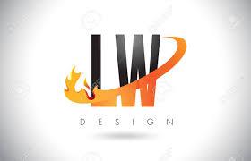 Lw Logo Design Lw L W Letter Logo Design With Fire Flames And Orange Swoosh