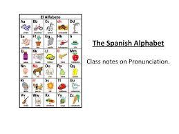 Class # 1 alphabet el alfabeto. Ppt The Spanish Alphabet Class Notes On Pronunciation Powerpoint Presentation Id 6748299