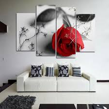red rose flower modern oil painting print canvas picture wall home bedroom plant