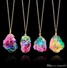 whole new fashion rainbow colorful raw quartz necklace dipped golden crystal pendant nature stone jewelry nice gift garnet pendant necklace aquamarine
