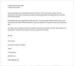Employee Recommendation Letter Adorable Letter Of Recommendation Sample For Job Kubreeuforicco