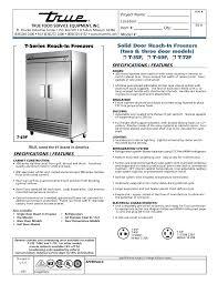 pdf for true freezer t 72f manual