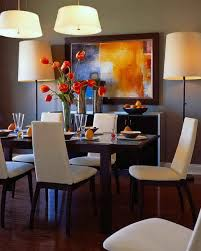 dining room designer furniture exclussive high: abstract wall painting decor plus contemporary dining room lights and comfortable upholstered chairs