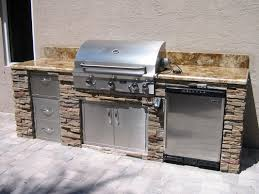 Outdoor Kitchen Design And Decoration Using Brown Marble Outdoor - Outdoor kitchen countertop ideas