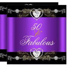 Black And Purple Invitations Fabulous 50 Purple Black Silver Gold 50th Birthday Invitation