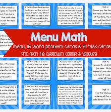 Menu Math for 4th & 5th Graders - The Curriculum Corner 4-5-6