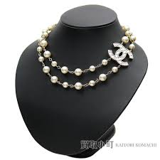 chanel here mark costume pearl choker two necklace quilting design cc logo costume jewelry b16p ccmark costume pearl necklace