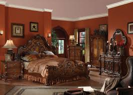 Oak Bedroom Furniture Sets Acme Dresden Traditional Arch Bedroom Set In Cherry Oak