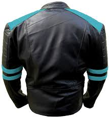 men s classic biker light blue and black leather jacket