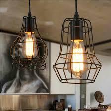 edison vintage lamp wrought iron pendant lighting small iron cages chandelier restaurant kitchen lighting fixture for bar cafe restaurant pendant light