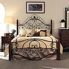 wrought iron and wood furniture. Queen Size Antique Style Wood Metal Wrought Iron Look Rustic Victorian Vintage Bed Frame Cherry Bronze And Furniture