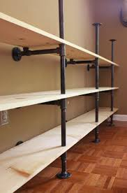 How to Build Plumbing Pipe Shelves | Industrial look ~ metal & wood ...