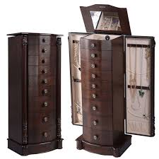Mirrored Jewelry Cabinet Armoire Furniture Best Wood Storage Material Design For Jewelry Armoire