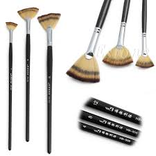 3 size fan brush pen set wooden handle acrylic water oil painting artist brushes drawing pen