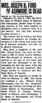 Ida (Byers) Ford obituary. - Newspapers.com