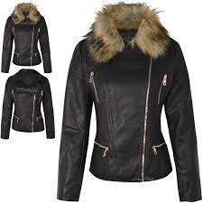 new womens las faux fur detachable collar leather look biker new womens las faux fur detachable collar leather