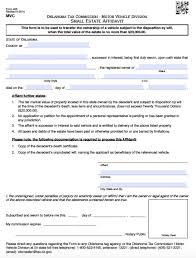 Affidavit Form In Pdf Free Oklahoma Small Estate Affidavit Vehicles Only 24 Form 22
