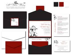 black & red wedding invitation pocketfold style w spanish floral Affordable Spanish Wedding Invitations black & red wedding invitation pocketfold style w spanish floral scroll Spanish Wedding Invitation Wording