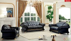 Italian Leather Living Room Furniture Versace Black Genuine Top Grain Italian Leather Luxurious Living