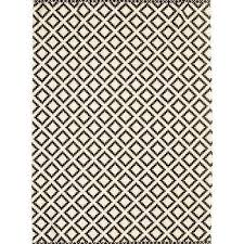 large black and white diamond pattern rug