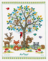 Vervaco Cross Stitch Charts In The Woods Birth Record Counted Cross Stitch Kit