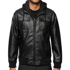 men s faux black leather hooded jacket zoom men s
