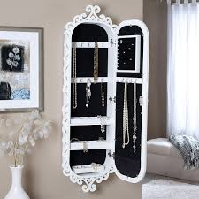 Wall Mounted Jewelry Cabinet Mirror Armoire With Gloss White Scrolling  Border Wall Mounted Jewelry Cabinet E77
