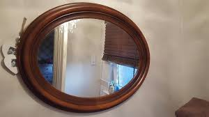 vintage retro style large wooden oval wall mirror over mantle mirror dresser mirror