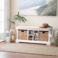 Cheap Benches Stylish Entryway Bench Furniture Engineered Wood Woven Fiber  Baskets White Finish Living Room With Elegant Calvohome.com