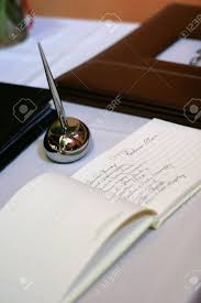 Guest Signing Book At Wedding Reception Stock Photo Picture And