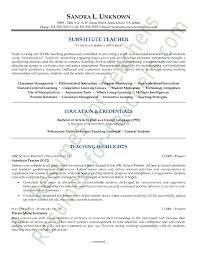 Substitute Teacher Resume Sample Free Resume Templates 2018