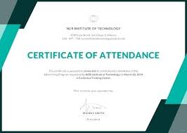 Attendance Award Template Course Attendance Certificate Template