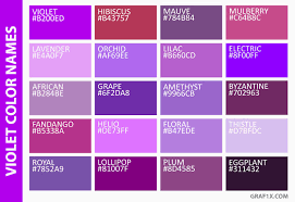 Shades Of Purple Colour Chart Shades Of Purple Color Chart With Names Www
