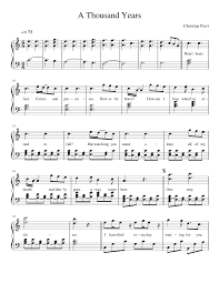 A Thousand Years Sheet Music Christina Perri A Thousand Years Sheet Music For Piano
