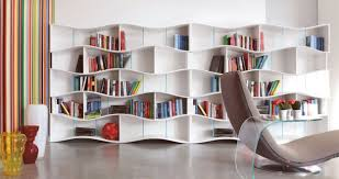 Creative Idea:Architecture Design With Large White Modern Bookshelves Near  Brown Modern Lounge Chair Feat