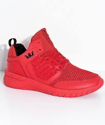 supra kids method red leather mesh shoes