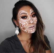 face painting creative and makeup artist melbourne area beautiful white lace skull