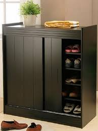 The Ideas of Shoe Storage Cabinet: Black Shoe Organizer Cabinet With Doors   ComQT