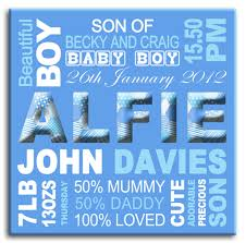 personalised birth announcement for a boy on blue canvas on personalised wall art gifts with personalised birth announcements christening gifts