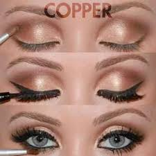 copper eye makeup for blue eyes