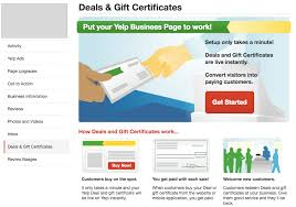 gift certificate for business how to create yelp deals gift certificates and check in offers synup