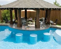 Modern Backyard Pool Bar Up Residential Summer Swimming Parties With Simple Ideas