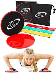 gliding discs core sliders exercise and resistance loop bands bundle with exercise ebook